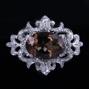 HELON Solid 14 k Ouro branco Certificado Oval Natural SMOKEY QUARTZ TOPAZ Diamantes Anel De Noivado Mulheres Especial Flores Jóias