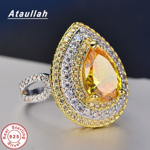 Ataullah Elegant Waterdrop Rings Topaz Gemstone Ring Sterling Silver 925 Jewelry With CZ Pave Setting Engagement For Women RW123