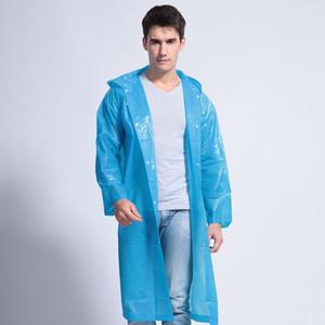 Escudo de lluvia con capucha Espesar poncho impermeable capa exterior transparente impermeable portable de la manera ropa impermeable DHL AN3073 Hombres Mujeres largo del viento