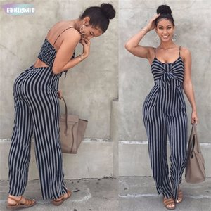 Summer New Blue Bodycon Bow Jumpsuit Stripe Monos Mujeres Sexy Party Clubwear Monos Casual Bowtie Monos Backless Plus Size