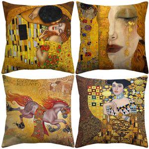 Oil Painting Gold Luxury Decorative Cushion Cover Gustav Klimt Animal Horse Tree Cushion Covers Sofa Decorative Linen Cotton Pillow Case