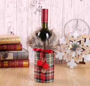 New Wine Cover with Bow Plaid Linen Bottle Clothes with Fluff Creative Wine Bottle Cover Fashion Christmas Decoration