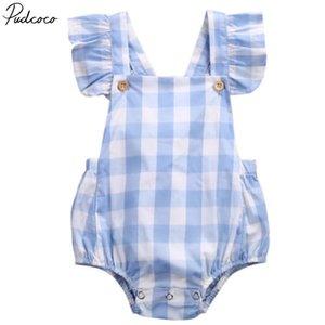 Pudcoco infante neonate vestiti di cotone breve del manicotto della mosca plaid Outfits 3-18months Pudcoco