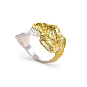 موضة جديدة أعلى جودة شخصية خمر الذهب والأبيض الذهب محفورة ورقة الدائري الرجال حلقات الزفاف خواتم مجوهرات هدايا للنساء