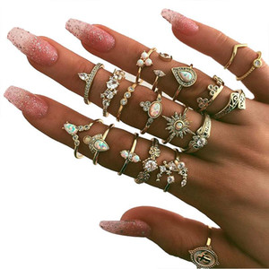 19 Pcs set Bohemian Vintage Crown Water Drops Star Geometric Crystal Ring Set Women Charm Joint Ring Party Wedding Jewelry Gift