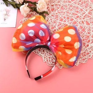 Female Women Girl Huge Bow with Polka Dots Headband Hairband Hair Hoop Costume Accessories Party Props for Halloween Party Props