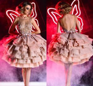 Румяна розовый линия Пром платья Jewel шеи видеть сквозь топ многоуровневого тюль короткие формальные Пром платья партии vestidos де fies халаты де бал