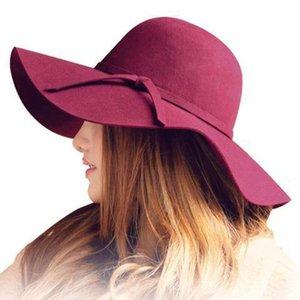 Sonbahar Kış Yaz Modası Fedoras Vintage Saf Kadın Plaj Güneş Şapkası Kadın Dalgalar büyük Brim sunbonnet Fedoras bayan Güneş Şapkası