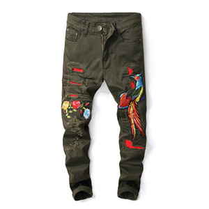 2019 New Hip Hop Famous Flower Phoenix Embroidered Jeans Straight Slim Fit Mens Army Green Biker Hole Distressed Denim Trousers