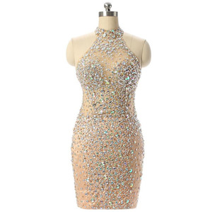 New Design Champagne Short Prom Dresses Sexy Mermaid High Neck See Through Crystals Beads Evening Cocktail Dresses SP135