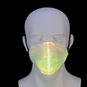 Moda Mask LED Fibra Óptica Luz Preto Moda Bar DJ Discoteca Homens Partido Mulheres E e Branco colorido EEA692 Máscara