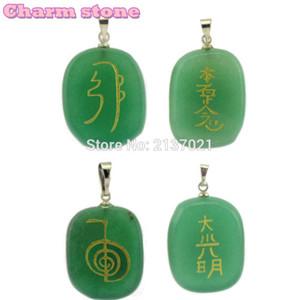 세미 - 귀중한 돌 펜던트 남성과 여성을위한 돌 타원형 조각 세공 목걸이의 치료 reiki Green Aventurine jewelry