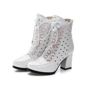 Fashion women's summer genuine leather ankle boots Vamp hollow-out Net yarn splicing female shoes