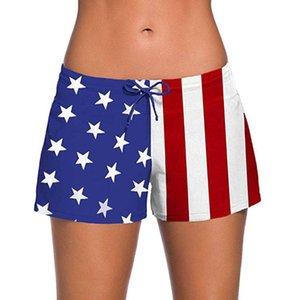 Yaz Kadın Şort Yüzme Amerikan Bağımsızlık Günü Amerikan Bayrağı Dikiş Casual Şort Biker Pantolon Yeni Baskı