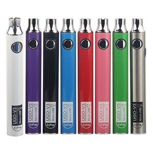 Cigarettes électroniques Batterie UGO-V3 650 900 mAh Préchauffer Batterie UGO V3 III Charge de chargement par micro-adaptateur Fit 510 Fil EGo Cartouche à huile épaisse