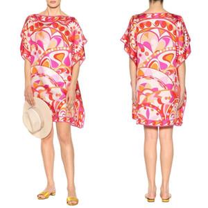 de Nova Fashion Designer Mulheres vestido de manga curta geométrico vermelho Imprimir grande extensão Jersey solto Silk Day Vestido