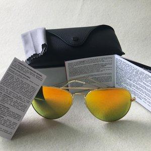 Kutuları Sürüş ile Sıcak Lüks Marka Tasarımcı Vintage Pilot Erkekler Kadınlar 58mm 62mm UV400 Aviator ayna Ayna Cam Lens gözlükleri