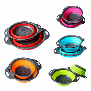 2pcs set Folding Collapsible Silicone Colander Strainer Kitchen Fruit Filter Basket Fruit Vegetable Colander Kitchen storage bowl FFA1863