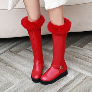 size 34 to 43 fashion luxury designer women shoes winter boots winter red white fur knee high boots christmas new year