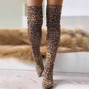 Diz Boots kadın 8cm yüksek topuklu lüks Tasarım tıknaz topuklu kadın ayakkabı kadın Aşırı 2019 leopar büyük beden 43 Sivri Burun