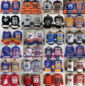 Uomini New York Rangers 99 Wayne Gretzky maglie hockey St Louis Blues di Los Angeles Kings Edmonton Oilers Canada Vintage Blu Bianco Nero CCM