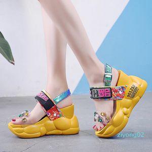Rimocy chunky platform big rhinestones pvc sandals women summer fashion transparent super high heels wedges sandalias mujer 2019 z02