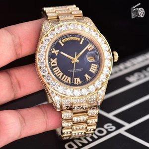 LuxuxMens Designer Uhren 45mm Iced Out Uhr Alle Diamant-automatische mechanische Bewegung Sweep Selbst-Wicklungs Armbanduhren
