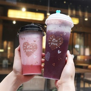 High Quality Creative Disposable Juice Cup 500ml Party Birthday Favor Cold and Hot Drink Plastic Cups with Love Lid