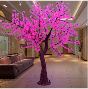LED Cherry Blossom Tree Wedding Garden Holiday Light square Decoración Exterior Interior led luces de árbol a prueba de agua H: 2m rosa