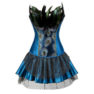 Embroidery Peacock Princess corset showgirl dance tutu skirt Cosplay Feathers Bustier bodyshaper suit Plus Size S-6XL MX200506