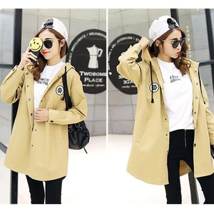 Designer high quality Everyday shopping apparel outdoor Hood on top Women Wind Coat Long Section Casual Loose Hooded Outwear with Letter