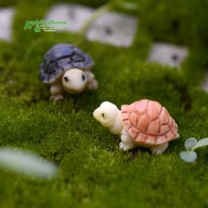 Los depósitos de briofitas Micro paisaje con mucha carne coloreada dos plantas pequeñas tortugas de la tortuga de bricolaje Adornos Decoración jardín en miniatura