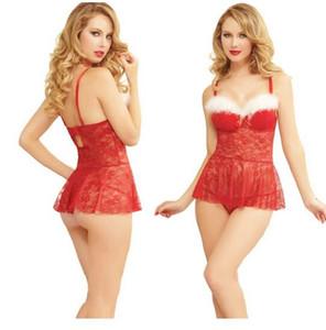 Livraison Gratuite Nouveau lingerie sexy cosplay Lingerie érotique Chemise de nuit en dentelle Costume de Noël Dentelle Noël Robe de Noël sexy en dentelle