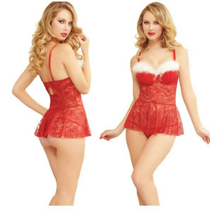 Ücretsiz Kargo Yeni sexy lingerie cosplay Erotik lingerie Dantel gecelik Noel kostüm Dantel Noel seksi Noel elbise dantel