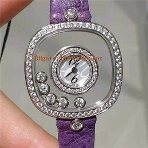 Новые женщины алмаз смотреть DIAMONDS 204368-5001 HAPPY Часы швейцарские кварцевые движения Прозрачный квадрат циферблат сапфировое стекло женщина наблюдает за