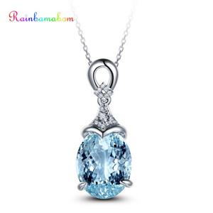 Rainbamabom 925 Gümüş Doğal Topaz Aquamarine Gemstone Düğün Nişan Sarkık Kolye Güzel Takı Toptan