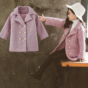 Cappotto di lana Abbigliamento per bambini Abbigliamento per bambini Girls' Bambini 2019 del nuovo progettista caldo autunno e l'inverno cappotto di lana Tartan ragazza rivestimento T191026