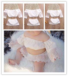In Baby-Rock Mode Mädchen Outfits Spitze Sleeved Blusen T-Shirt + kurzen Rock 2 Stück Kleidung Sets Sommer Lovely Girl Röcke 70-100cm E22501