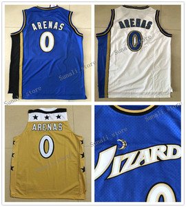 Retro Men # 0 Gilbert Arenas Jersey Gelb Blau Weiß High Quality 0 Arenas College-NCAA Basketball-Trikots billig Großverkauf