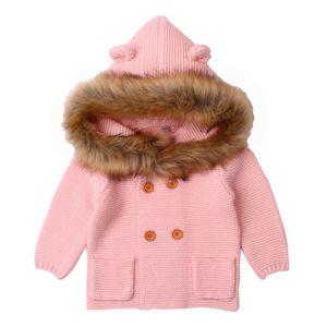 Newborn Baby Winter Warm Sweater Fur Hood Detachable Infant Boys girls cardigan santa sweater Cardigan Fall Outwear 6M-24M
