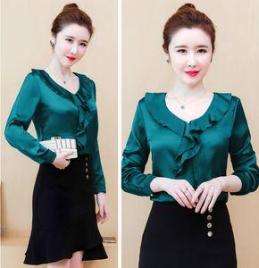 Роскошные Runway Tops Шелковый сатин рубашки плюс размер женщин Мода фонариков рукавом V-образным вырезом рябить блузку дамы тонкий элегантный офиса Дизайнерские Рубашки