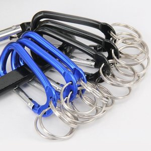 Multifunction Mountaineering Carabiner Keychains Aluminium Alloy 3 Hole Climbing Buckle Key Rings Blue Black Color Keys Holder