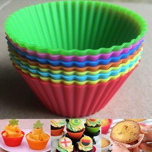 Silicone Muffin Cake Cupcake Cup Cake Mold Case Case Bakeware Maker Mould Plateau De Cuisson DIY Gâteau Rond De Cuisson Tasses WX9-177