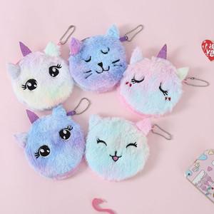 Cute Cat Fleece Tasche für Kinder Kinder Kredit Halter Portable Storage Schlüsseletui Wallets Änderung Nullgeldbeutel Geldbörsen Plüsch Geldbörse