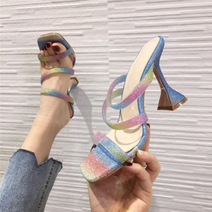 Glitter Bling PVC Jelly Shoes Fashion Design Strange Cup Heels Womens Slippers Classic Square Toe Wedding Sandals Mules