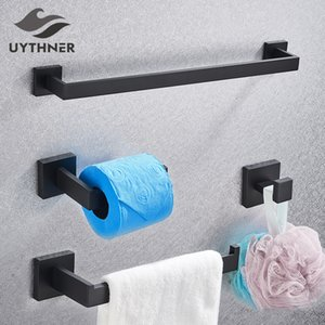 Bathroom Hardware Set Black Robe Hook Towel Rail Bar Rack Bar Shelf Tissue Paper Holder Toothbrush Holder Bathroom Accessories Bwkf