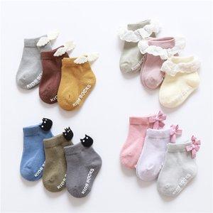 3 pairs baby girl boy socks lace ruffle Bow newborn cheap stuff floor anti slip sox kids infantil clothes accessories