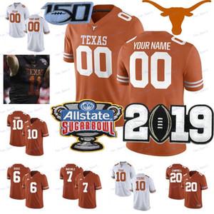 Пользовательский Техас Longhorns 2020 Футбол Любого Название Количество Оранжевого Белый 11 Ehlinger 7 кормок 9 Collin Johnson Young Sugar Bowl NCAA Джерси 150-й