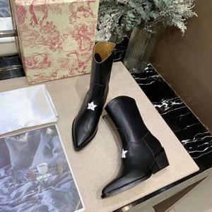 Superiore di lusso tallone Lettera Nastro Fibbia in metallo Basso Stivali Vera Pelle bovina di moda donna Pearl Boots
