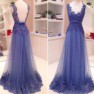 Cheap Prom Dresses 2019 New A Line Deep V Neck Bow Appliques Sheer Tulle Back Evening Dresses vestidos de fiesta
